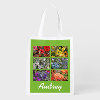 Collage de la foto del jardín de flores bolsa reutilizable