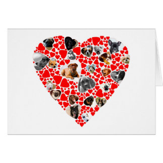 Collage de la foto del perro del corazón de la tarjeta de felicitación