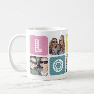 Collage de la foto multicolor taza de café
