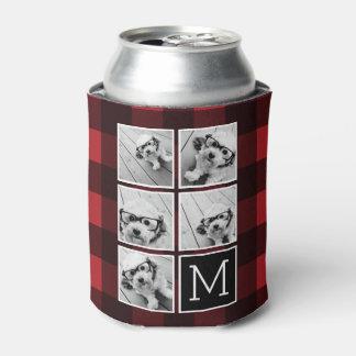 Collage de la foto - tela escocesa roja del búfalo enfriador de latas