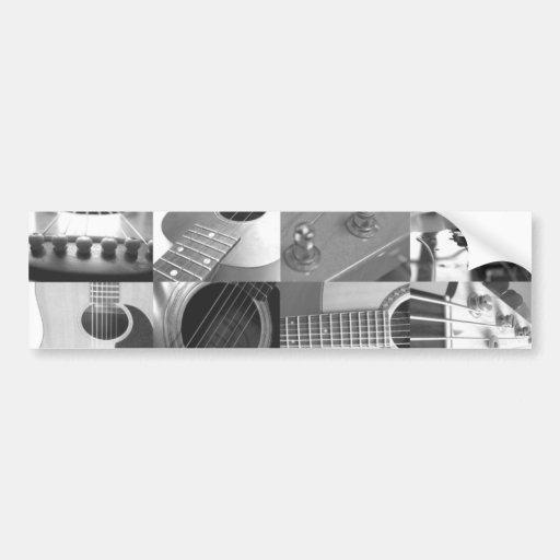 Collage de la fotografía de la guitarra - blanco y etiqueta de parachoque