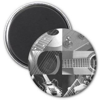 Collage de la fotografía de la guitarra - blanco y imán redondo 5 cm