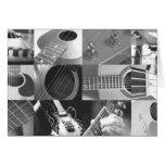 Collage de la fotografía de la guitarra - blanco y tarjetas