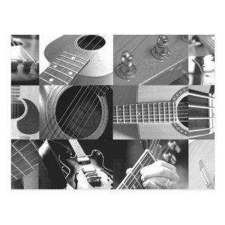 Collage de la fotografía de la guitarra - blanco y tarjetas postales