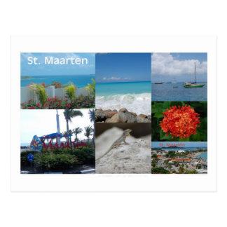 Collage de la fotografía del St. Maarten-Sint Mart Postal