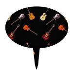 Collage de la guitarra acústica eléctrica y decoraciones de tartas