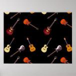 Collage de la guitarra acústica eléctrica y poster