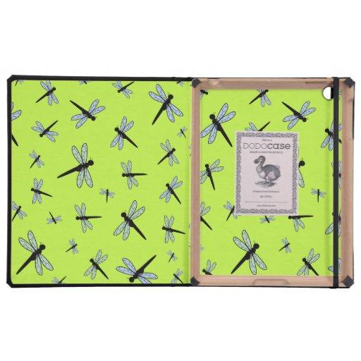Collage de la libélula del vector (fondo verde)