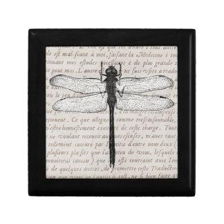 Collage de la libélula del vintage y del texto de  cajas de joyas