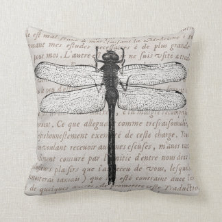 Collage de la libélula del vintage y del texto de cojín decorativo