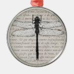 Collage de la libélula del vintage y del texto de  ornamento de reyes magos
