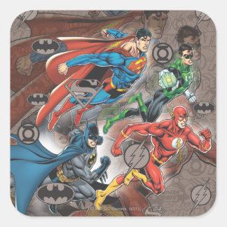 Collage de la liga de justicia pegatina cuadradas personalizadas