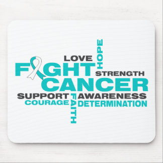 Collage de la lucha del cáncer de cuello del útero alfombrillas de ratones