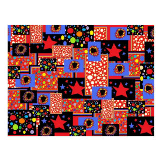 Collage de la manía del círculo y de las estrellas tarjeta postal