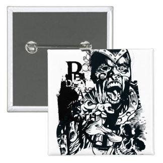 Collage de la mano negra y del cráneo pin
