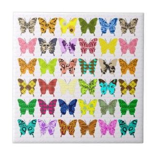 Collage de la mariposa azulejo cuadrado pequeño