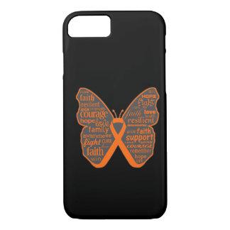 Collage de la mariposa de la leucemia de palabras funda iPhone 7