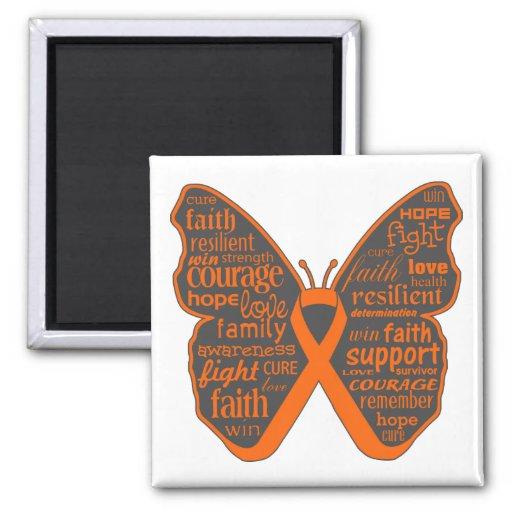 Collage de la mariposa de la leucemia de palabras imán para frigorifico