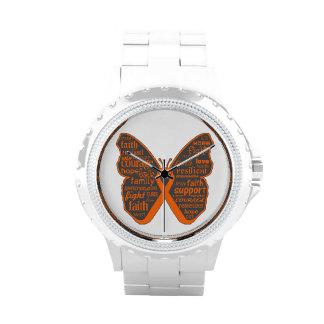 Collage de la mariposa de la leucemia de palabras relojes de pulsera