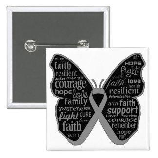 Collage de la mariposa del cáncer de cerebro de pa pin cuadrada 5 cm