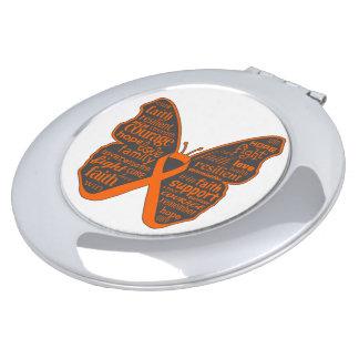 Collage de la mariposa del cáncer de piel de las p espejos maquillaje