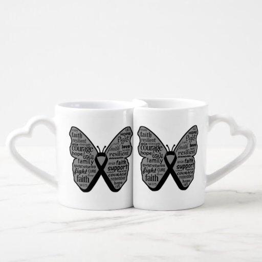 Collage de la mariposa del cáncer de piel de palab taza amorosa