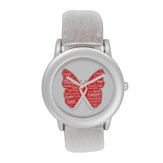 Collage de la mariposa del cáncer de pulmón de pal relojes de mano
