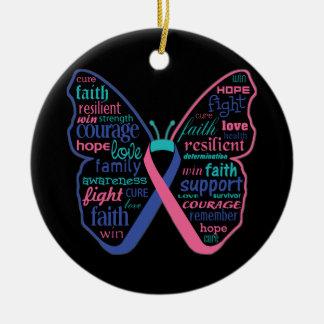 Collage de la mariposa del cáncer de tiroides de adorno navideño redondo de cerámica