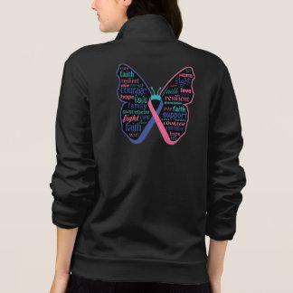 Collage de la mariposa del cáncer de tiroides de chaquetas deportivas