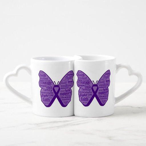 Collage de la mariposa del cáncer del ESENCIAL de Taza Para Enamorados