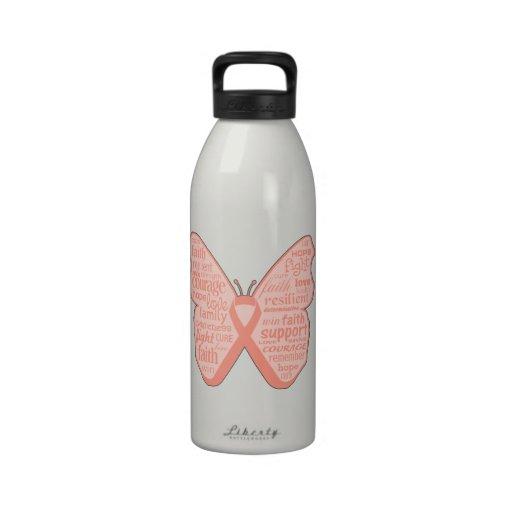 Collage de la mariposa del cáncer endometrial de p botella de agua reutilizable