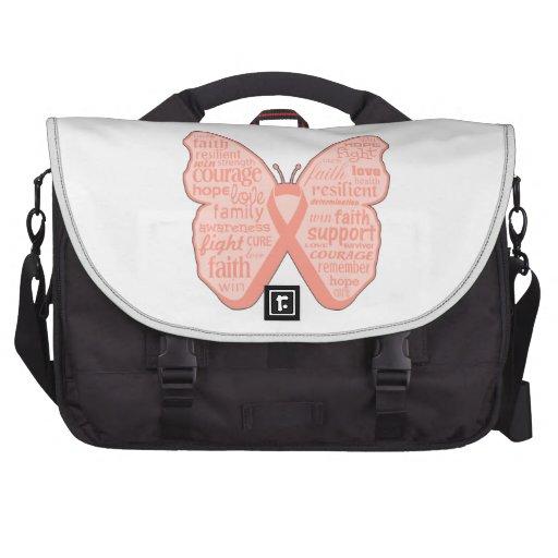 Collage de la mariposa del cáncer endometrial de p bolsa de ordenador