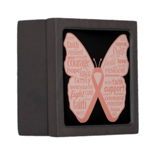 Collage de la mariposa del cáncer endometrial de p cajas de joyas de calidad