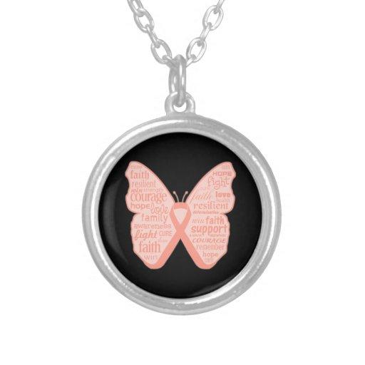 Collage de la mariposa del cáncer endometrial de p joyeria personalizada