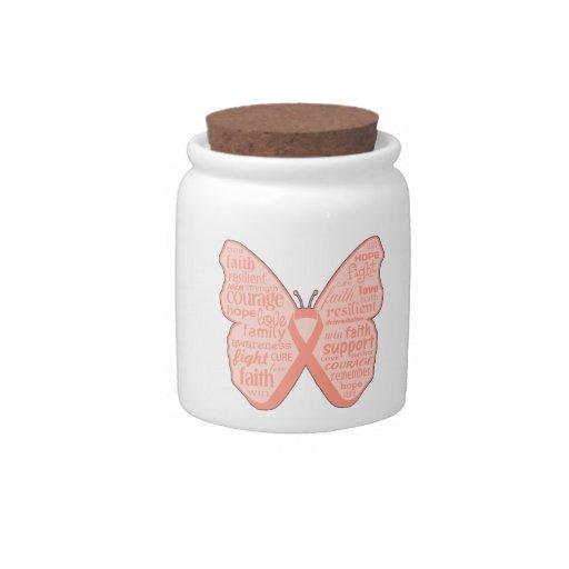 Collage de la mariposa del cáncer endometrial de p plato para caramelo