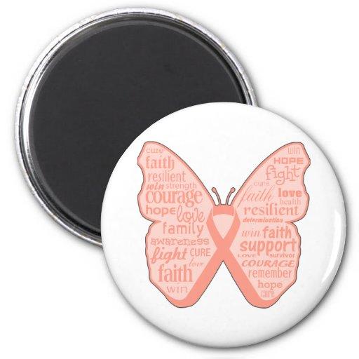 Collage de la mariposa del cáncer endometrial de p imán para frigorifico