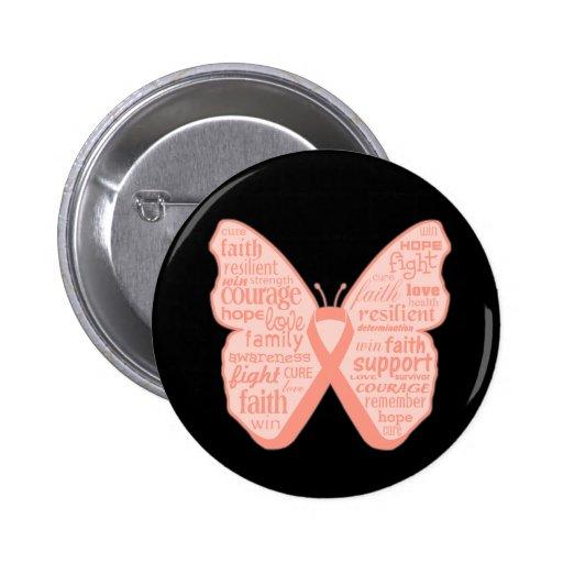 Collage de la mariposa del cáncer endometrial de p pin
