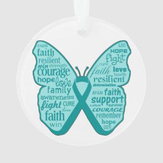 Collage de la mariposa del cáncer ovárico de palab