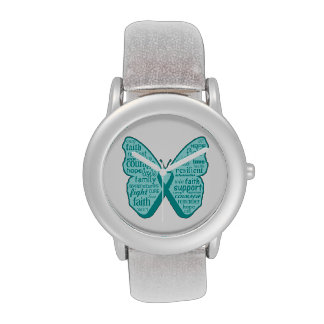Collage de la mariposa del cáncer ovárico de palab relojes de mano