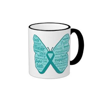Collage de la mariposa del cáncer ovárico de taza de dos colores