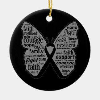 Collage de la mariposa del melanoma de palabras adorno navideño redondo de cerámica