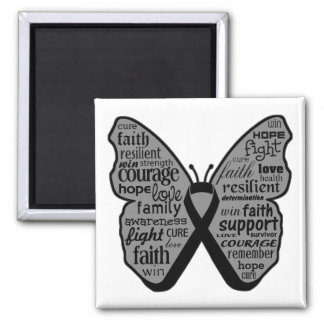 Collage de la mariposa del melanoma de palabras imán de frigorifico