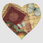 Collage de la mariposa del recuerdo del vintage calcomanías corazones personalizadas