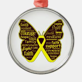 Collage de la mariposa del sarcoma de palabras adorno redondo plateado