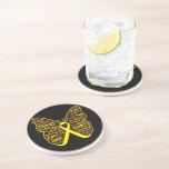 Collage de la mariposa del sarcoma de palabras posavasos cerveza