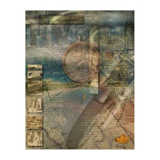 Collage de la motocicleta de las progresiones impresión en madera