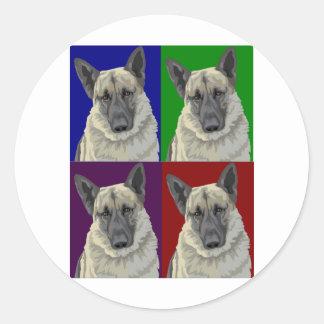 Collage de la oscuridad del pastor alemán pegatina redonda