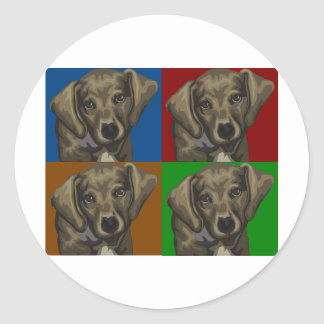 Collage de la oscuridad del perro del Dachshund Pegatina Redonda