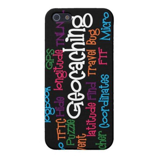 Collage de la palabra de Geocaching iPhone 5 Cárcasa