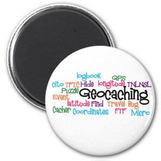 Collage de la palabra de Geocaching Imán Redondo 5 Cm